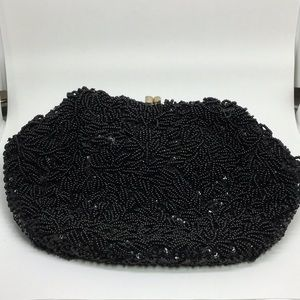 Black Beaded Sequined Vintage Handbag Kiss Closure